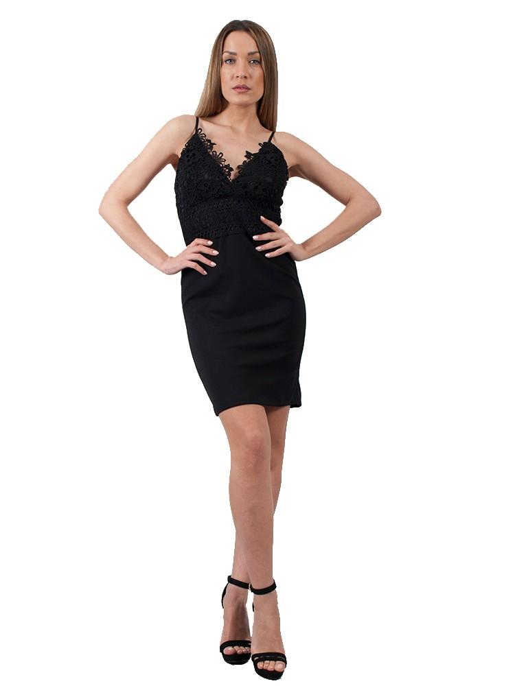 2c43ca4f694b Φόρεμα mini με ραντάκι και δαντέλα στο μπούστο | Μαύρο
