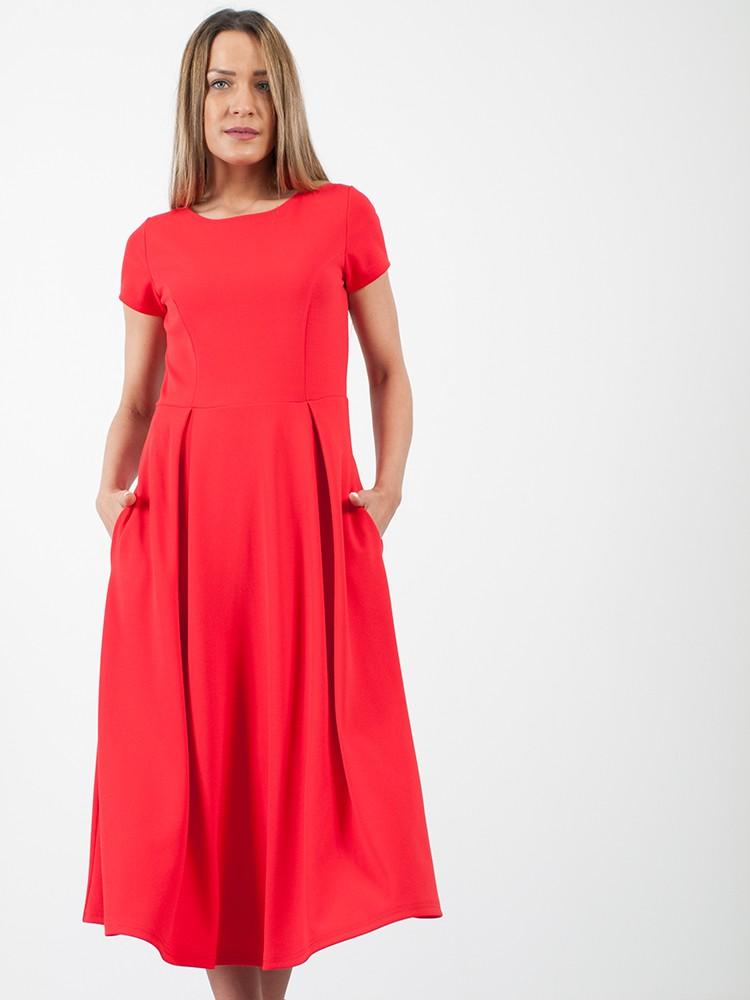 276d5c87560b Φόρεμα midi τύπου κλος με κοντό μανίκι και τσέπες