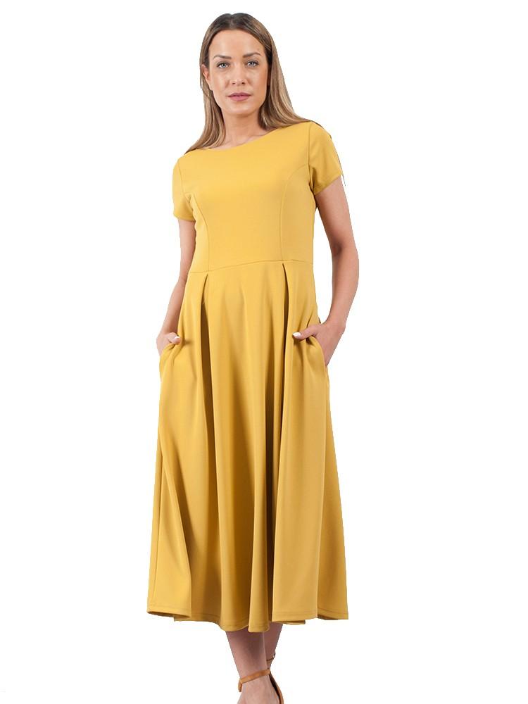 695bd5790d47 Φόρεμα midi τύπου κλος με κοντό μανίκι και τσέπες