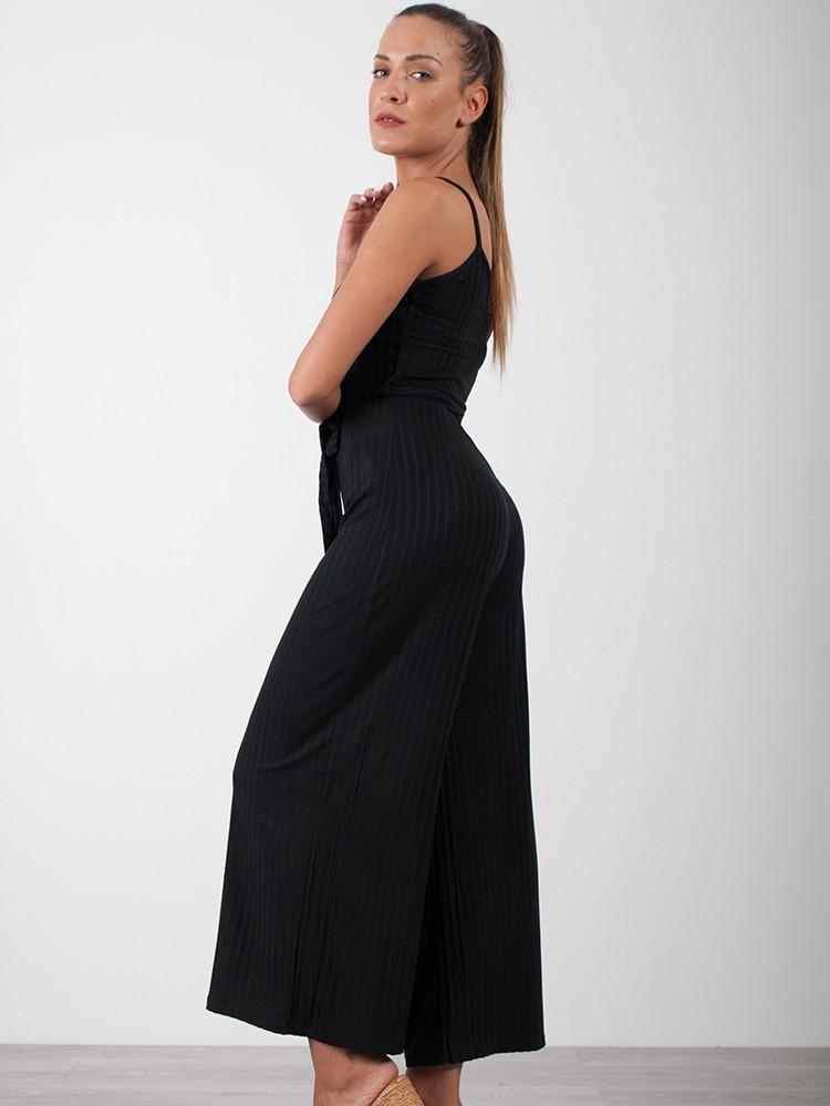 412f89a13fd Γυναικεία ολόσωμη φόρμα ριπ ζιπ κιλότ με ζωνάκι | Μαύρο [-17%]