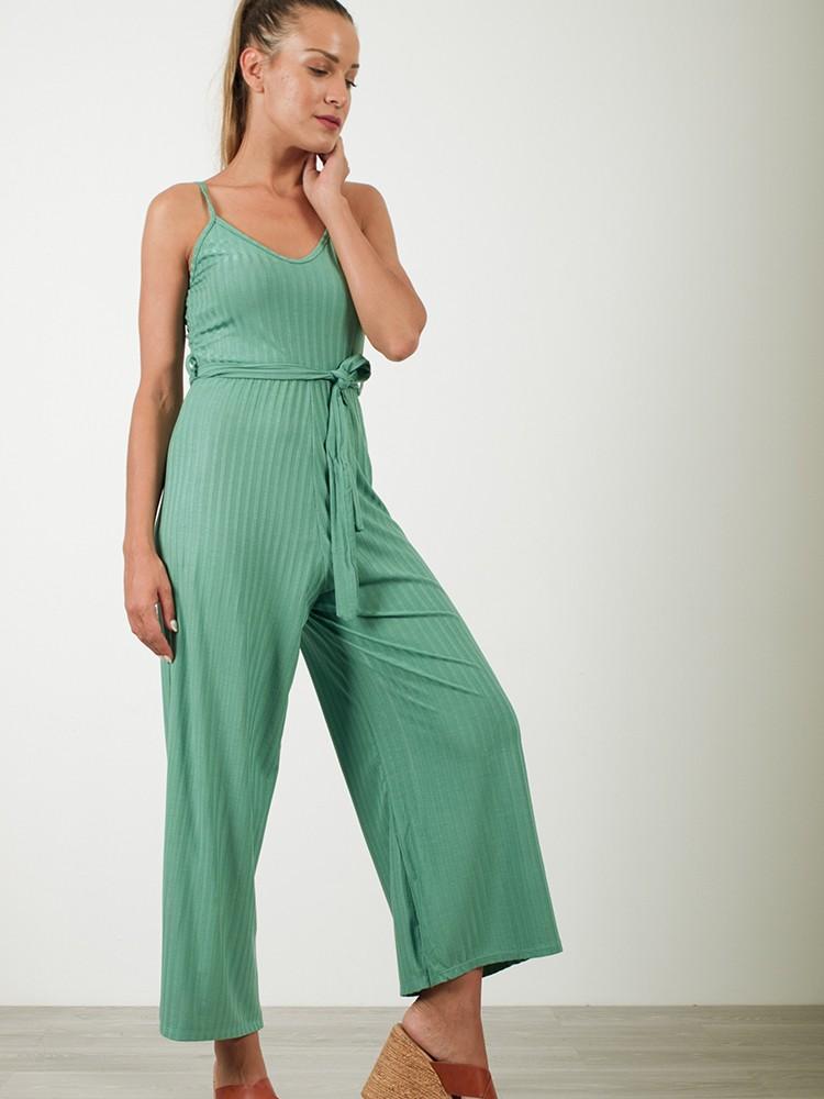 060ad43be01 Γυναικεία ολόσωμη φόρμα ριπ ζιπ κιλότ με ζωνάκι | Πράσινο Μέντας [-17%]