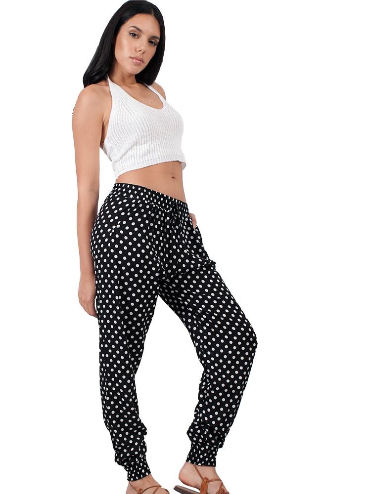 f7b1cc7b2d2 Γυναικείο παντελόνι σαλβάρι πουά με λάστιχο και κορδόνι | Μαύρο