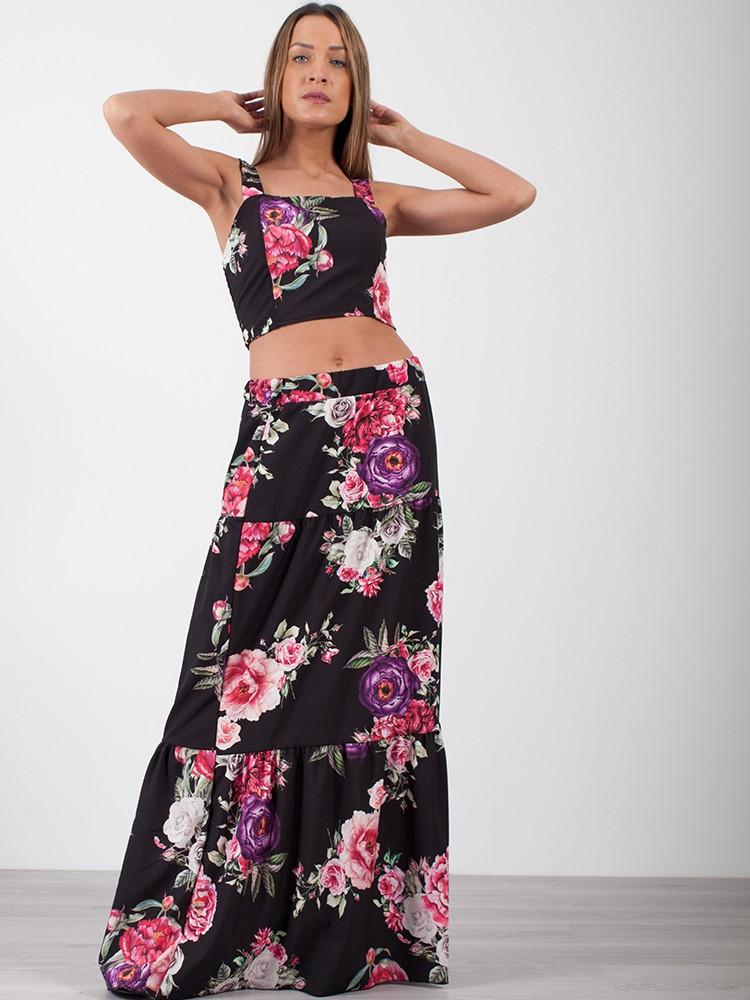 feff6a3977ef ... Σετ γυναικείο floral, μπλουζάκι με ράντα-φούστα maxi   Μαύρο -  μπροστινή όψη ...