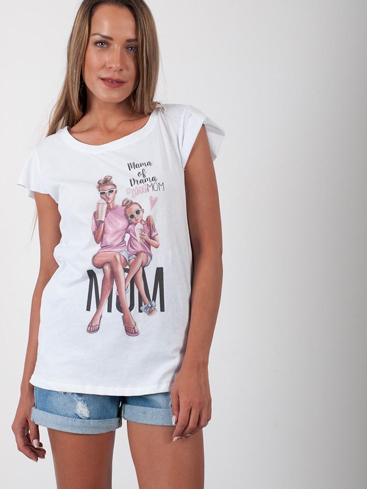 0449ad7da8d Γυναικείο t-shirt μπλουζάκι με στάμπα Mommy Of Drama   Λευκό [-33%]