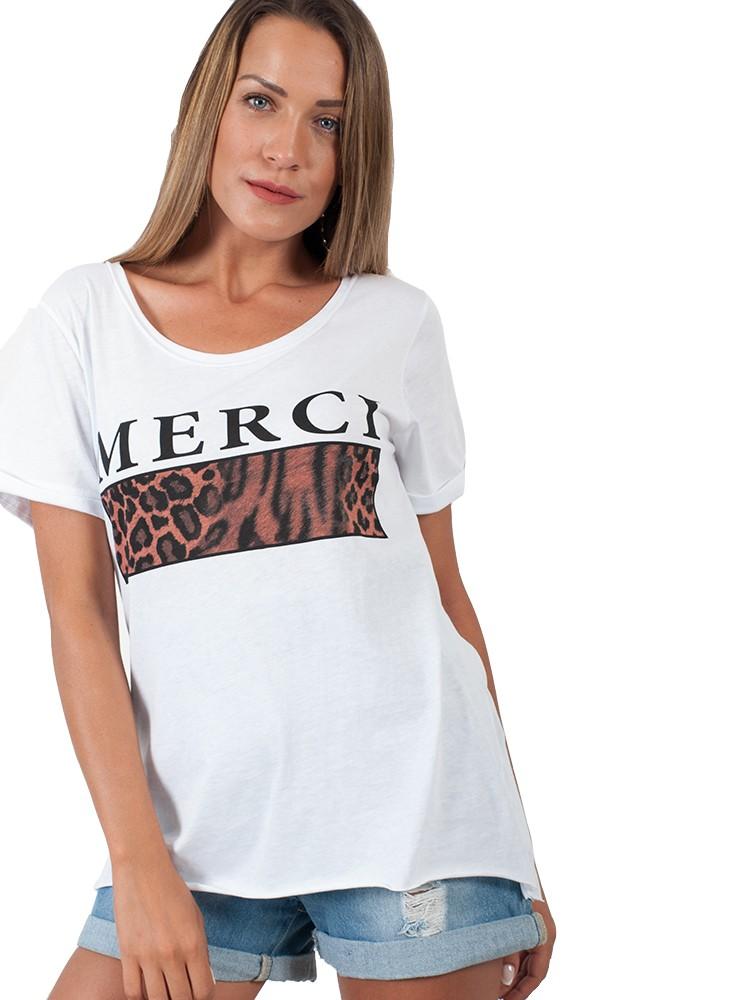 46cde4c0fec Γυναικείο t-shirt μπλουζάκι με στάμπα Merci   Λευκό [-29%]