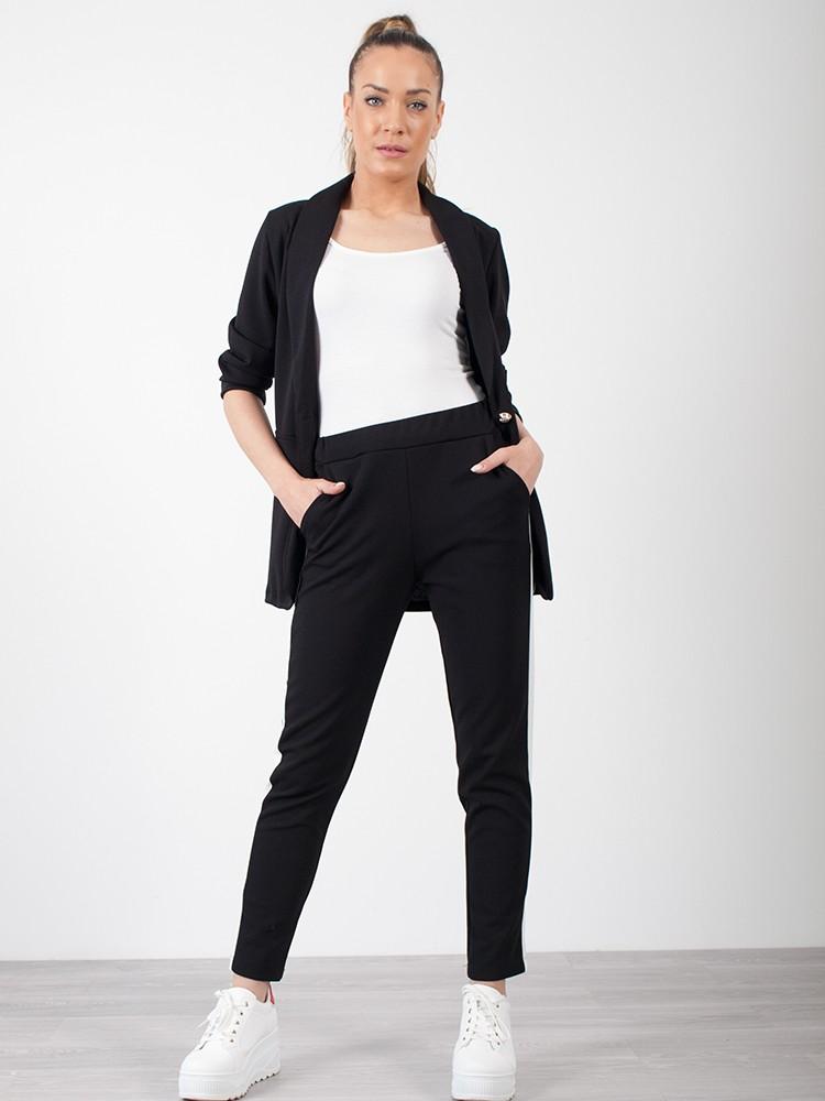 8a6231ac6f93 ... Σετ γυναικείο σακάκι μεσάτο και παντελόνι με λευκή ρίγα στο πλάι